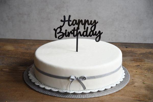 Cake Topper Happy Birthday Ca 17 Cm Hoch Schwarz