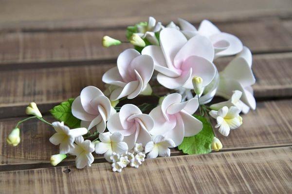 Zucker-Blüten weiß-rosa, 15 cm
