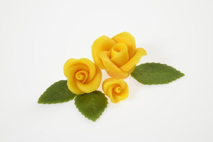 rosenset gelb aus marzipan 9 rosen 14 bl tter. Black Bedroom Furniture Sets. Home Design Ideas