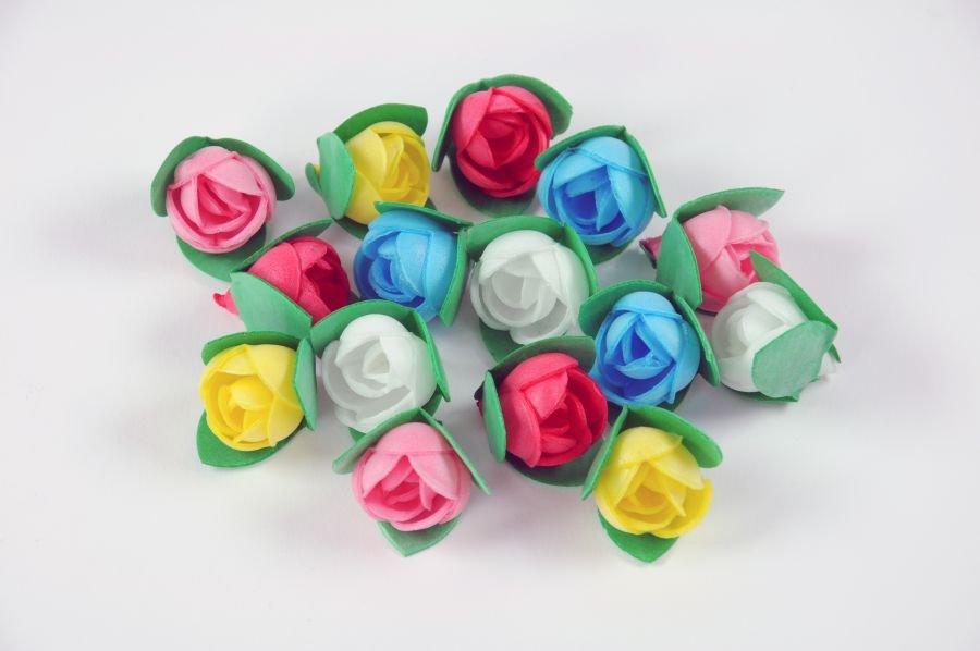Oblaten-Rosen klein mit Blatt, bunt sortiert, 1...