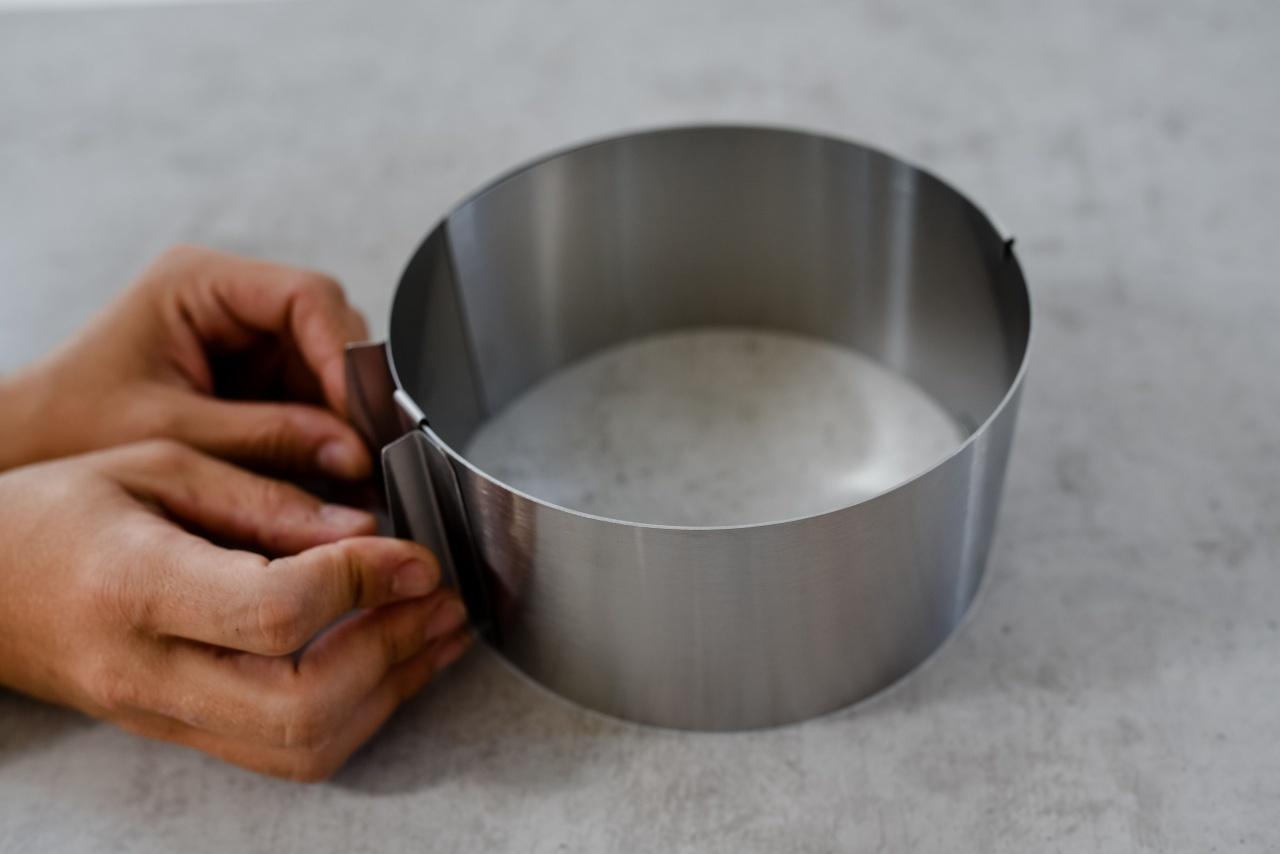 7,0 cm Höhe 16,5 cm x 32,0 cm aus Edelstahl Tortenring stufenlos verstellbar