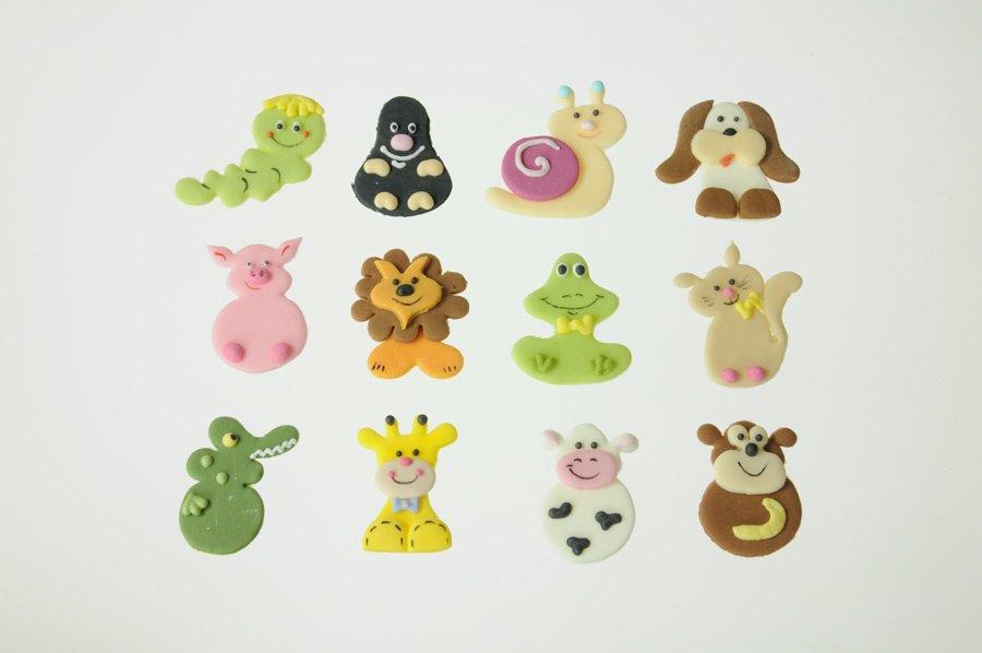 Tiere Zucker-Aufleger, ca. 4 cm, 12 Stück