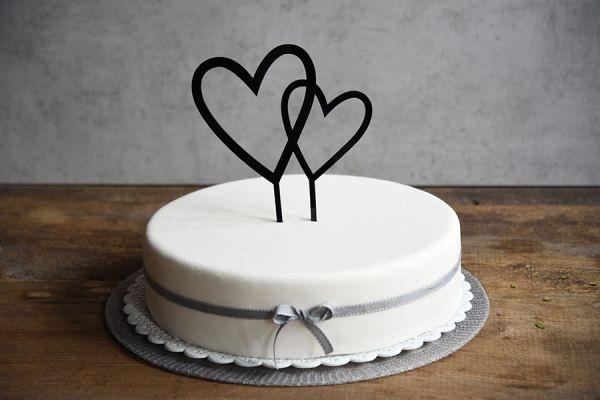 Cake Topper Doppelherz Ca 17 Cm Hoch Schwarz