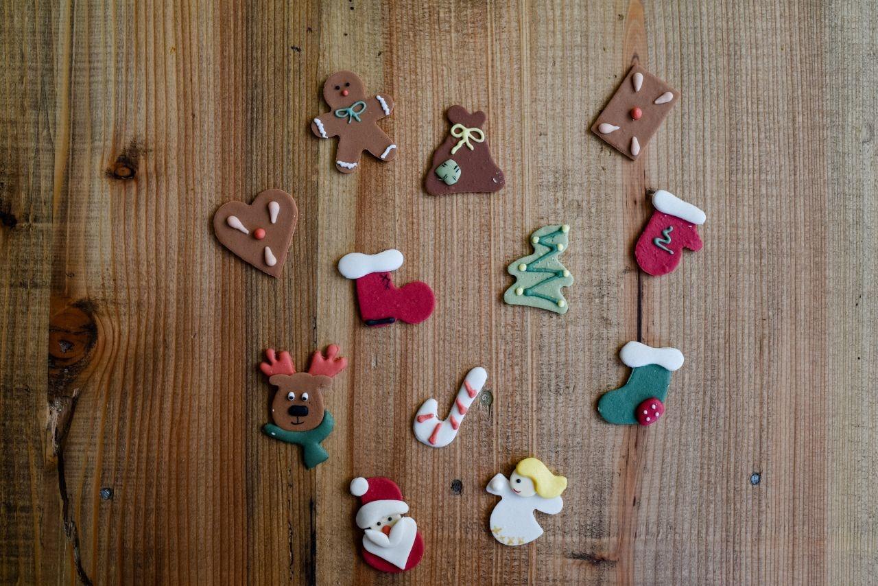 Weihnachts-Set, Zucker-Aufleger, ca. 4 cm, 12 S...