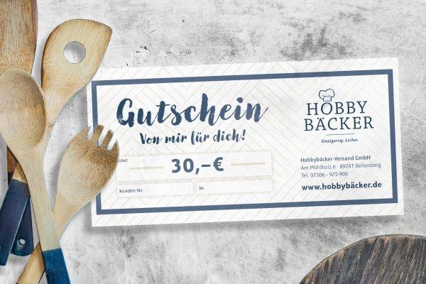 geschenk gutschein 30 euro f r alle hobbyb cker artikel. Black Bedroom Furniture Sets. Home Design Ideas