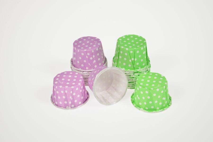 ... & Backformen Papierbackförmchen Mini-Muffin Punkte, grün und lila
