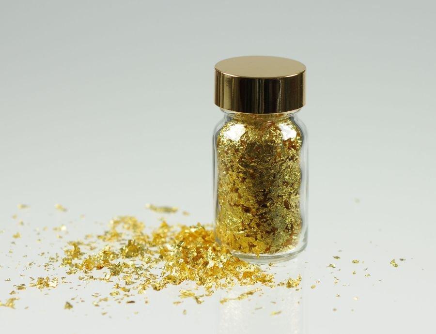 Gold-Flocken 24 Karat, im Glasflacon 0,1 g