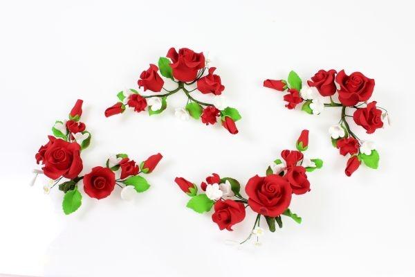 Zucker-Rosen rot, 4 Stück á 13 cm bei Hobbybaecker.de