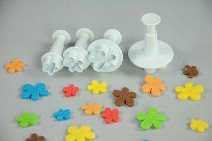 Blumenformer mit Auswerfer 4er Set,1,5 + 1,8 + 2,5 + 3 cm