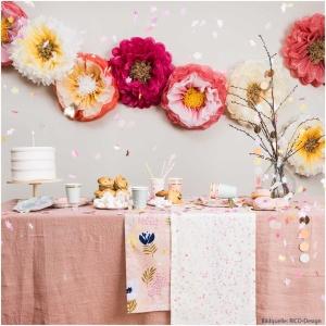 Blumen aus Seidenpapier, rosa/orange, 2 Stück, ca. Ø 45 cm