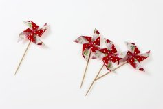 Windrädchen-Einstecker Blumen/getupft aus Papier, 10Stück