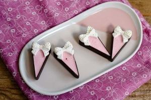 Dessertschalen Schokolade Dreieck klein Zartbitter, 36 Stück