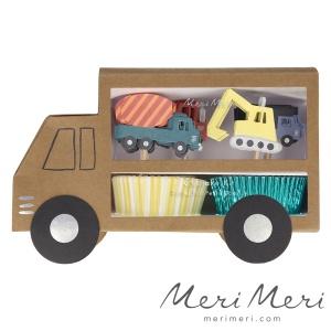 Meri Meri Cupcake Kit Baustelle, Muffinform + Deko