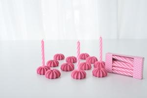 Geburtstagskerzen mit Zuckerhaltern, rosa, 12 Stk., H 63 mm