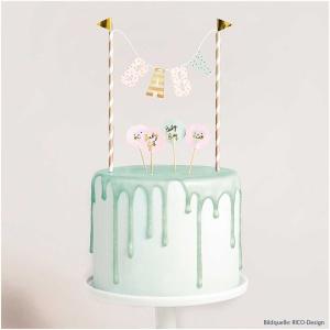 Cake Topper Baby, 1 Girlande, 6 Picker, Höhe 19,5 cm