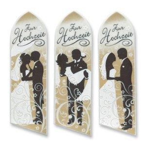 Hochzeit, Zucker-Aufleger, lang 4,5 x 15 cm, 3 Stück