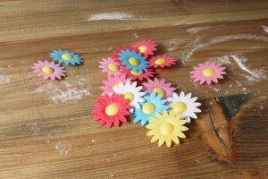 Margeriten Oblaten-Blüten bunt gemischt, 16 Stück, 4,5 cm