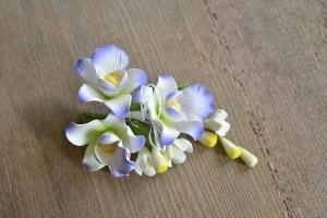 Zucker-Orchideen weiß / lila, 13 cm