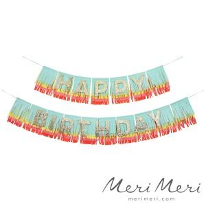 Meri Meri Fransengirlande Happy Birthday, bunt, Länge 240 cm