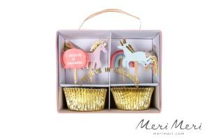 Meri Meri Cupcake Kit Einhorn, Muffinform + Deko