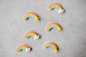 Regenbogen - Set aus Zucker, 6 Stück
