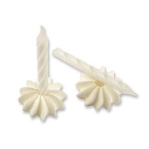Geburtstagskerzen mit Zuckerhaltern, weiß, 12 Stk., H 63 mm