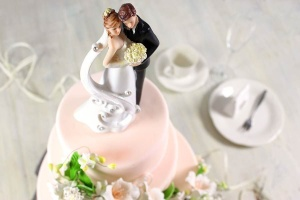 Brautpaar mit Glitzerschleier,  ca. 20 cm