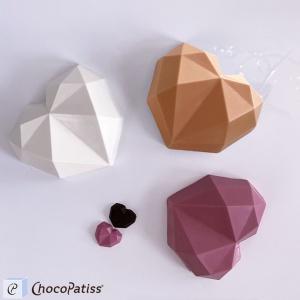 Schokoladenform geometrisches Herz, L, 13,5x15x4,5 cm