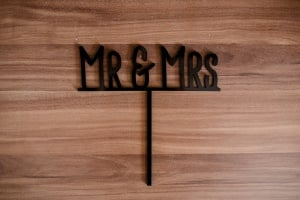 Cake Topper Mr & Mrs, schwarz, Acryl, 179 x 57mm