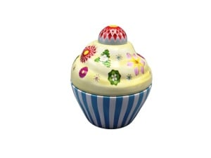 Blechdose Cupcake Happy Flower, blau, 75x80 mm, 120 ml
