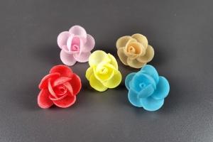 Oblaten-Rosen, farbig gemischt, 16 Stück, Ø 4 cm