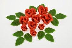 Rosenset rot aus Marzipan  9 Rosen + 14 Blätter
