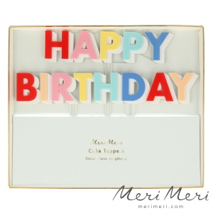 Meri Meri Cake Topper Happy Birthday, bunt, Acryl