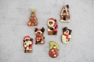 Weihnachten Schoko-Figuren, Vollmilch, 7 Stück, 5 x 3 cm