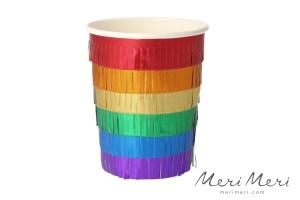 Meri Meri Becher Regenbogen, mit Folienfransen, 8 Stk.,
