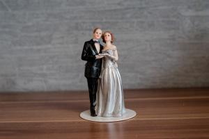 Brautpaar silberne Hochzeit, Polyresin, 12 cm