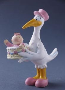 Storch mit Baby, rosa, ca. 11 cm hoch aus Polyresin