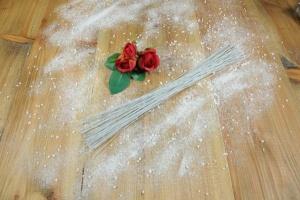Blüten- und Blumendraht, weißgrau, 50 Stück, Länge 38,5 cm