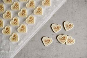 Aufleger für Herzschalen -Danke- weiß, 56 Stück