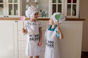 Hobbybäcker-Chef-Set / Kinder-Schürze + Mütze