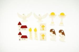 Kommunion-Set Mädchen, Zucker-Aufleger, 12 Stück