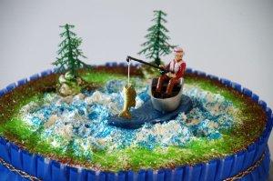 Angler-Set / Angler mit Fisch und Bäume
