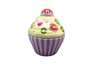 Blechdose Cupcake Happy Flower, rosa, 75x80 mm, 120 ml