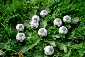 Trüffel-Halbkugel Fußball, weiße Schokolade Ø2,6 cm 63 Stück