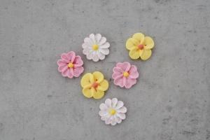 Sommerblüten aus Zucker - rosa, gelb und  weiß, 16 Stück