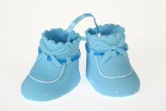 Babyschuhe blau aus Zucker  6 x 3,5 cm / zum Beschriften