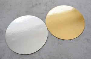 Cake Board / Tortenplatte, Ø 22 cm, gold/silber, 1,5 mm