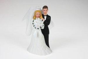 Brautpaar aus Porzellan mit Schleier ca. 13 cm
