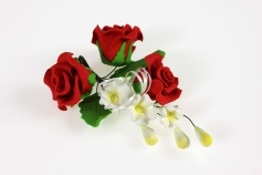 Zucker-Rose Trio rot, 13 cm
