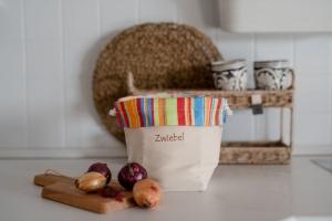 Zwiebelbeutel aus Baumwolle Sonnig 18 x 24 cm